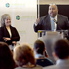 TIM JEAN/Staff photo <br /> <br /> Lawrence Mayor Daniel Rivera, makes a point about the city as Marianne Paley Nadel, Owner, Everett Mills Real Estate & Chairperson, Lawrence Partnership listens during the Lawrence Partnership annual meeting held at IndusPad.     12/18/19