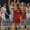 TIM JEAN/Staff photo <br /> <br /> Methuen's Brooke Tardugno, left, defends Tewksbury's Alyssa Marchelletta during a girls basketball game. Methuen lost 49-26.     12/19/19