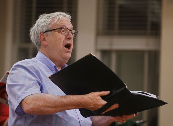 MIKE SPRINGER/Staff photo<br /> Steve Wallingford of Andover sings with the New England Classical Singers in a rehearsal Monday at South Church in Andover.<br /> 12/9/2019