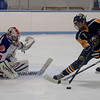 TIM JEAN/Staff photo <br /> <br />  Methuen/Tewksbury goaltender Kaia Hollingsworth, looks to make the save against Andover's Hanna Medwar during a girls hockey game. Andover won 4-3 in overtime.     12/21/19
