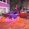 TIM JEAN/Staff photo <br /> <br /> A Ford pickup truck crashed into the side of Bill DeLuca's Woodworth Motors after being involved in a two car accident at the intersection of Routes 28 and 133 in Andover.    12/7/19