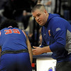 TIM JEAN/Staff photo <br /> <br /> Londonderry head coach Nathan Stanton talks with Mike Rosatano during a break in the action against Andover at the Commonwealth Motors Christmas Classic basketball tournament.   12/27/19
