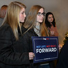 CARL RUSSO/Staff photo Katie McCudden, left and Mackenzie Santiago, both juniors at Londonderry high school came to see Democratic presidential candidate Andrew Yang in Derry at the Rockingham Brewing Company on Tuesday. 12/31/2019