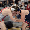 TIM JEAN/Staff photo <br /> <br /> Pinkerton's Sterling McLaughlin, left, wrestles against Central's Anthony Mears in the 220 pound semifinal during the Salem Blue Devil Classic wrestling tournament. McLaughlin won 3-0.       12/14/19