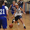 RYAN HUTTON/ Staff photo<br /> Nettle Middle School's Sierra Jepsen drives down court during Thursday afternoon's home game against Hunking Middle School.