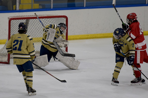 TIM JEAN/Staff photo <br /> <br /> Windham goaltender Vito Mancini makes a save during a boys hockey game against Pinkerton Academy at the ICenter in Salem, NH. Pinkerton won 3-2.    12/26/19