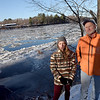 TIM JEAN/Staff photo <br /> <br /> Lindsay Strozza-Concemi, left, of Andover and Rocky Morrison of the Clean River Project stand next to the Merrimack River along the trail of Deer Jump Reservation in Andover. The two are teaming up to try to get Andover residents and officials to fund a river cleanup.  12/20/19