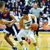 CARL RUSSO/Staff photo. Lawrence's Angel Herrera drives to the hoop. Lawrence high defeated Central Catholic 55-51 in the 7th. annual Commonwealth Motors Christmas Classic basketball tournament. 12/27/2019