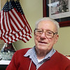 MIKE LABELLA/Staff photo<br /> <br /> World War II Navy veteran Salvatore Pauta, 97, of Lawrence dropped by the Lawrence Veterans Services Office to reminisce about the war, and having served in the Navy.