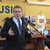 MADELINE HUGHES/Staff photo<br /> <br /> Sen. Michael Bennet, D-Colo., answered questions from Salem residents at a campaign stop at Coffee Coffee Friday morning.  12/6/19