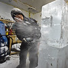 RYAN HUTTON/ Staff photo<br /> Don Chapelle, owner of Brilliant Ice Sculpture, work in his Lawrence shop on a sea turtle ice sculpture for the New England Aquarium for the First Night celebration on New Years Eve.