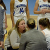 TIM JEAN/Staff photo <br /> <br /> Methuen head coach Hilary Glynn, center, talks with her players during a timeout against Tewksbury during a girls basketball game. Methuen lost 49-26.     12/19/19