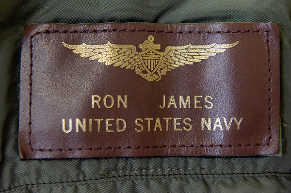 TIM JEAN/Staff photo <br /> <br /> The patch on the bomber jacket of Ron James who was a Navy Commander. His jacket was given to Brandan Guenard, of Andover, from his daughter Kelly James, of Nashua.  12/21/19