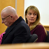RYAN HUTTON/ Staff photo<br /> Dawn Marie Barcellona looks back toward her family before the start of her sentencing hearing in Rockingham County Superior Court on Monday on a charge of drunk driving after an October 2018 accident in which she struck and killed North Andover resident Andrew Dobson. The state only charged her with DUI, for which she was fined and had her license suspended for a year.
