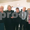 CARL RUSSO/Staff photo. STEPPING OUT: St. Lucy parishioners, from left, Theresa Doherty, Annette Autiello  and Angela Rizzo, who are both anniversary committee members, Charles Bonanno and Rachel Voiland who is chairperson of the 60th anniversary year of celebration.<br />  <br /> St. Lucy's Parish in Methuen celebrated its 60th. Anniversary with a dinner and dance on October 20, 2018. The celebration began with a 4 pm mass at St. Lucy's church then a dinner at Michael's Function Hall in Haverhill. 10/20/2018