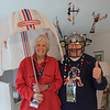 AMANDA SABGA/Staff photo<br /> <br /> Bo and Barbara Kennedy of Andover, dedicated Patriots fans, pose with an umbrella bought from the New England Patriots stadium in the 1960s and one of Bo's famous hat..<br /> <br /> 1/29/19