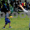 TIM JEAN/Staff photo<br /> <br /> Mason Perez, 6, left, of Lawrence throws a frisbee towards his brother Armani Perez, 7, during the 6th annual S.A.L.S.A Festival at Riverfront Park in Lawrence.   6/1/19