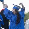 AMANDA SABGA/Staff photo<br /> <br /> Laysea Gonzalez cheers after receiving her diploma during Methuen High School's 2019 graduation ceremony on Nicholson Stadium.<br /> <br /> 6/7/19
