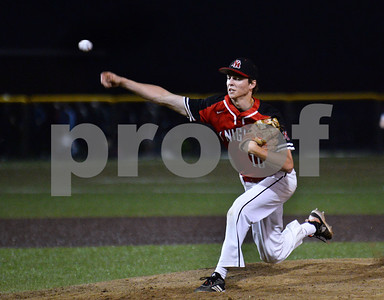 CARL RUSSO/staff photo Pitcher and captain Sebastian Keane. North Andover defeated St. John's Prep in the Super 8 tourney championship game Tuesday night. 6/18/2019