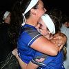 CARL RUSSO/staff photo Methuen's starting pitcher Jillian McCoy, left, hugs Claudia Crowe affter the game. Methuen defeated Bridgewater-Raynham 6-2 in state semifinals softball action. 6/19/2019