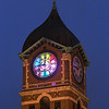 MIKE SPRINGER/Staff photo<br /> The West face of the Ayer Mill clock is lit up in bright colors from the inside Wednesday evening during the kick-off of Illuminacion Lawrence, an initiative to light city landmarks to promote community pride and economic development.<br /> 6/5/2019