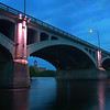 MIKE SPRINGER/Staff photo<br /> The five pillars of the Joseph W. Casey Bridge are lit up  Wednesday evening during the kick-off of Illuminacion Lawrence, an initiative to light city landmarks to promote community pride and economic development.<br /> 6/5/2019