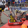 TIM JEAN/Staff photo<br /> <br /> Windham's Brendan Browne sets up the teams robot in the qualification match during the FIRST Robotics New England District Granite State competition held at Salem High School.  3/1/19
