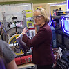 TIM JEAN/Staff photo<br /> <br /> Senator Maggie Hassan speaks with students in the pit area during the FIRST Robotics New England District Granite State competition held at Salem High School.  3/1/19