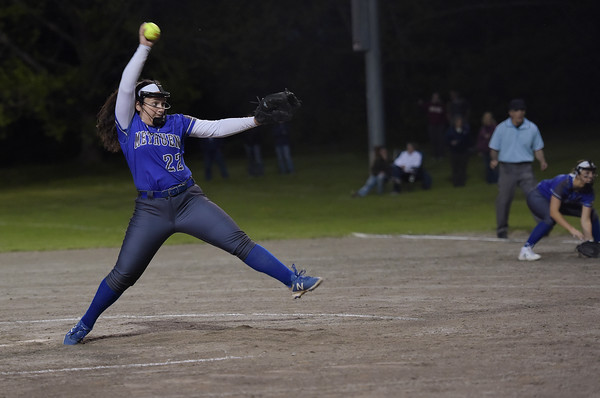 TIM JEAN/Staff photo<br /> <br /> Methuen's Jillian McCoy throws a pitch against Andover during the Methuen Invitational Softball Championship game. Methuen won 7-1.      5/25/19