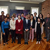 RYAN HUTTON/ Staff photo<br /> The 16 student contestants in the Lawrence3 Bar Association's Law Day speech contest pose with Judge Mark Newman, far right, at El Taller on Wednesday afternoon.