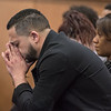 AMANDA SABGA/Staff photo<br /> <br /> Members of Lee Manuel Viloria-Paulino's family react as Jonathan Miranda testifies that Mathew Borges told him that he murdered and beheaded Paulino. The family sits in Salem Superior Court during Mathew Borges' first-degree murder trial.<br /> <br /> 5/1/19