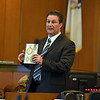 RYAN HUTTON/ Staff photo<br /> Prosecutor Jay Gubitose holds up a copy of Mathew Borges' journal as he delivers his closing arguments to the jury in Salem Superior Court on Monday in the murder trial of Lawrence teen Mathew Borges, who is accused of killing fellow student Lee Manuel Viloria-Paulino in 2016.