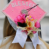 """TIM JEAN/Staff photo<br /> <br /> A pink mortarboard with """"Blessed"""" worn by a soon to be gradulate during Lawrence High School graduation ceremony at Veterans' Memorial Stadium.  5/31/19"""