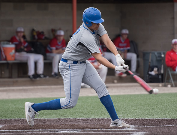 AMANDA SABGA/Staff photo<br /> <br /> Methuen High's Darwin Oleaga (27) at bat during a Hillie Classic game between Methuen and Tewksbury at Trinity Stadium in Haverhill.<br /> <br /> 5/24/19