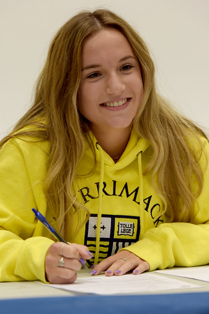 TIM JEAN/Staff photo <br /> <br /> Hampstead's Kate Bennett, field hockey; Merrimack College signs a letter of intent for college during a signing event at Pinkerton Academy.     11/14/19