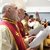 CARL RUSSO/Staff photo.  Mark Kazanjian of Methuen, a deacon for the Armenian Apostolic Church at Hye Pointe in Haverhill participates in the service to bless the cross.  <br /> <br />  The Armenian Apostolic Church at Hye Pointe in Haverhill consecrated its sanctuary cross and placed it on top of the dome Thursday, June 20. A reception was held after the service. 6/20/2019. <br /> <br />  Fr. Vart Gyozalyan, pastor of the Armenian Apostolic Church at Hye Pointe and special guest Bishop Daniel Findikyan of the Diocese of the Armenian Church of America (Eastern) in New York along with a dozen priest and deacons held a service to bless the cross and the people attending. A reception was held after the service.  6/20/2019