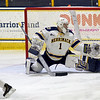 TIM JEAN/Staff photo <br /> <br /> Merrimack's Jere Hutamaa makes a save against RPI during the first period of a Mens Ice Hockey game at Merrimack College.       11/30/19