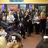 TIM JEAN/Staff photo <br /> <br /> Massachusetts Senator and presidential candidate Elizabeth Warren, right, speaks during a canvass kickoff event at Coffee Coffee in Salem, NH. 11/23/19