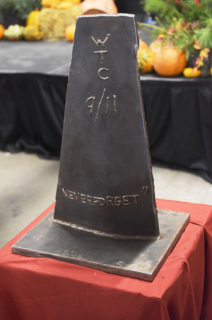 TIM JEAN/Staff photo <br /> <br /> A piece of the World Trade Center that will be used as the centerpiece of a memorial at Londonderry's Central Fire Station.       11/15/19