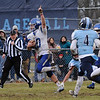 TIM JEAN/Staff photo <br /> <br /> Methuen's Connor Bryant raisers his arm to celebrate as he scores another touchdown against Dracut during the annual Thanksgiving day football game at Dracut High School. Methuen won 50-40.  11/28/19