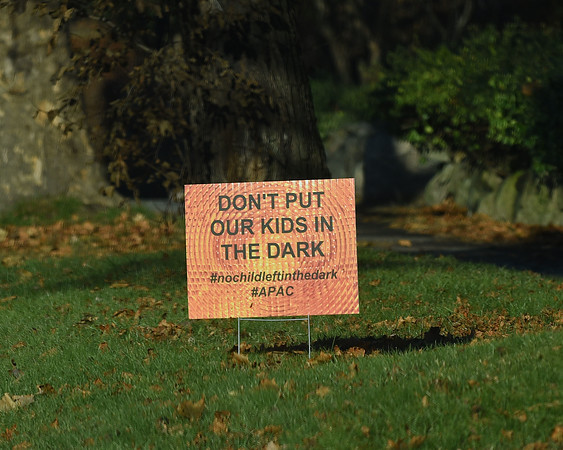 RYAN HUTTON/ Staff photo<br /> One of several signs - this one located on Elm Street -around Andover protesting the proposed change in the start time of the school day.