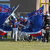 TIM JEAN/Staff photo <br /> <br /> Londonderry's Tyler Kayo (8) leads his team onto the field for the New Hampshire Division 1 semifinal football game against Salem. Londonderry won 35-14.     11/16/19