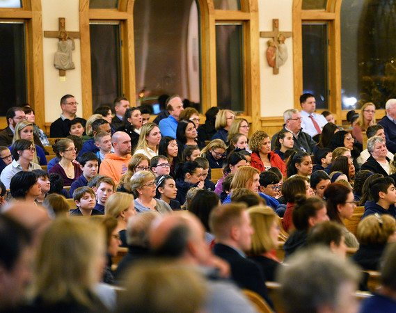 CARL RUSSO/staff photo. A large crowd of parishioners and non-parishioners attend the anniversary mass. Cardinal Sean P. O'Malley, OFM Cap. celebrated mass Tuesday night at St. Michael's Parish in honor of their 150th anniversary. 11/19/2019