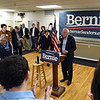 RYAN HUTTON/ Staff photo<br /> Vermont Senator Bernie Sanders addresses a crowd of a couple hundred at the Derry-Salem Elks Lodge during a town hall-style campaign stop on Monday afternoon.