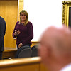 RYAN HUTTON/ Staff photo<br /> Dawn Marie Barcellona speaks to the family of Andrew Dobson at the end of her sentencing hearing in Rockingham County Superior Court on Monday on a charge of drunk driving stemming from an October 2018 accident in which she struck and killed Dobson. The state only charged her with DUI, for which she was fined and had her license suspended for a year.