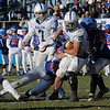 TIM JEAN/Staff photo <br /> <br /> Salem's Joshua Maroun breaks a tackle and scores a touchdown against Londonderry during the New Hampshire Division 1 semifinal football game. Salem lost 35-14.     11/16/19