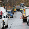 RYAN HUTTON/ Staff photo<br /> Columbia Gas trucks sit in the area of Florence Street in Lawrence where a contractor struck a low pressure gas line.