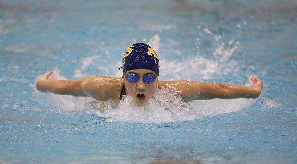 MIKE SPRINGER/Staff photo<br /> Ysabella Ouyang of Andover competes Sunday in the 100-yard Butterfly in the state Division 1 finals at the MIT pool in Cambridge.<br /> 11/17/2019