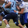 TIM JEAN/Staff photo <br /> <br /> Methuen's Jordan Duran tackles Dracut running back Lucas Ibarguen for a loss during the annual Thanksgiving day football game at Dracut High School. Methuen won 50-40.  11/28/19