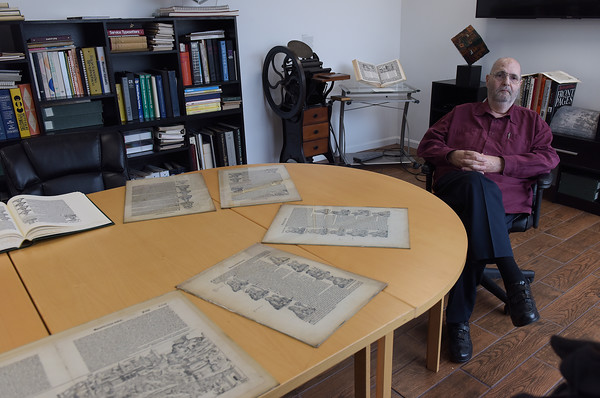 TIM JEAN/Staff photo <br /> <br /> Frank Romano, of the Museum of Printing talks about pages from the Nuremberg Chronicle on display at the museum in Haverhill.      11/14/19